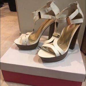 JustFab White Heeled Sandals